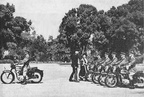 H M  The Queen Mother and the Commissioner Col  Jackson inspect a motor cycle escort August 1957