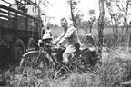February 1929  2755 Tpr  Joy  on AJS 1928 K6 with six wheeler Thorneycroft A3 in the background