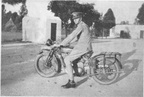 Goromonzi 1931     3100 Trooper Spurling with his own motor cycle for which he was paid mileage allowance Note the spurs