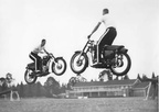 1959 Police Display Terry Franklin and John Osborne performing the diagonal cross-over ramp jump